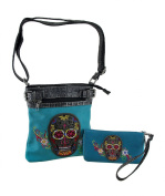Turquoise Embroidered Sugar Skull Conceal Carry Crossbody Purse/Wallet Set