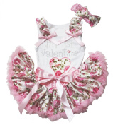 My 1st Valentine Dress Heart White Cotton Shirt Pink Floral Baby Skirt Set 3-12m