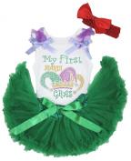 Mardi Gras Dress Crown Print White Cotton Shirt Green Baby Skirt Set 3-12m