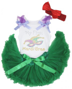 Mardi Gras Dress Eye Mask Print White Cotton Shirt Green Baby Skirt Set 3-12m