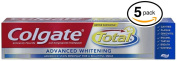 (PACK OF 5 TUBES) Colgate Total ADVANCED TOOTH WHITENING Toothpaste. Whitens & Removes Surface Stains! ANTI-CAVITY FLUORIDE, ANTI-GINGIVITIS & ANTI-PLAQUE!