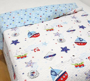 J-pino Baby Cartoon Printed Reversible Cosy Bed Coverlet Quilt 100% Cotton Blanket Gift for Boys & Girls