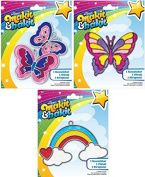Suncatcher Kits - Butterflies, Large Butterfly, Rainbow with Clouds - by Makit & Bakit / Colorbok - stained glass art project for kids. Boys, girls, and children. - Bundle of 3.