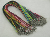 "100pcs Mixed Colours Waxed Cotton Cord Necklace 1.5mm/17"" with Extension Chain Lead & nickel Free"