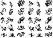 Swirly Birds 2.5cm - Black 13CC225 Fused Glass Decals