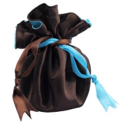 Reversible Satin Jewellery Pouch Chocolate Brown / Light Turquoise Favour Gift Bag 23cm