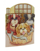 Santoro 3D Swing Greeting Card, Puppies In A Basket