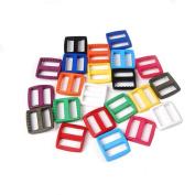 """25pcs 1""""(25mm) Webbing Colourful Plastic Slider Tri Glide Adjust Buckles for Dog Collar Harness Backpack Straps FLC080"""