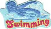 """SWIMMING"" w/SWIMMER/Iron On Embroidered Patch/Swimming, Sports, Words, Swimmer"