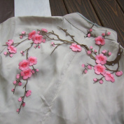 "Cutehill Handmade 14.1""x7.5"" (36x19cm) Big Pink Plum Blossom Embroidery Applique Patch, Iron on Applique, Flower Applique Patch"