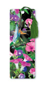Dimension 9 3D Lenticular Bookmark with Tassel, Hummingbirds in Pink and Purple Flowers