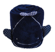Deep Navy Whale Rolled Blanket