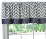 Baby Doll Minky Chevron Window Valance, Grey