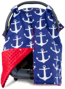 Premium Carseat Canopy Cover with Peekaboo Opening- Large Nautical Anchor Print with Red Minky | Best for Infant Car Seat, Boy or Girl | All Weather | Universal Fit | Baby Shower Gift | Newborn Decor
