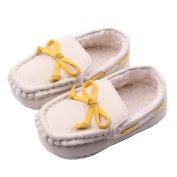 LIDIANO Baby Winter Warm Dull Polish Vamp Non Slip Soft Sole Toddler Crib Shoes First Walker with Bow & Tassels