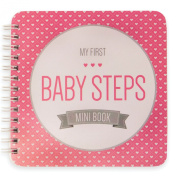 "NEW! Baby First Year Memory Mini Book. ""Modernista""(TM), Pretty in Pink Poly Cover Hand Made. Intimate, travel size memory keeper record book and journal for Boy or Girl. 13cm x 13cm"