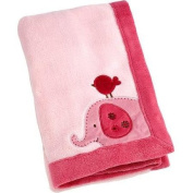 Raspberry Jungle Applique Coral Blanket, Pink Baby Blanket with Elephant