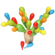 Happy Cherry Wooden Colourful Assembling Plan Toy Cactus Ball Balancing Game Fight Inserted Removable Wooden Building Blocks Toy for Kids Children Toddlers