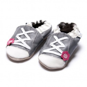 'Jinw - Sporty Grey Flower Soft Sole Trainers - Slippers Leather Slippers - Baby Shoes - by Amsomo