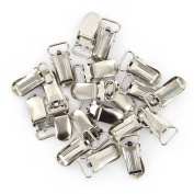 20pcs 11mm Webbing Hook Pacifier Suspender Clips for Craft---Silver