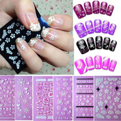 Adeby(TM)New 6x Design Flower Bow Lace Butterfly Snow Nail Art 3D Sticker Nail Salon Just for you