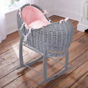 Luxury British Made Grey Wicker Noah Pod Moses Basket With Baby Pink Waffle Covers And Rocking Stand