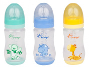 Pack of 3 Haberkorn Wide Neck Bottles with Silicone Teats 260 ml 3 Designs