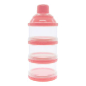 VANKER 3 Layer Baby Infant Food Milk Powder Bottle Box Dispenser Container Holder Case Pink