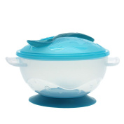 MMRM Non-slip Baby Kids Feeding Suction Bowl with Spoon - Blue
