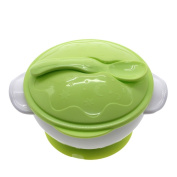 MMRM Non-slip Baby Kids Feeding Suction Bowl with Spoon - Green