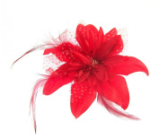 Bright red flower fascinator hair clip for special occasions