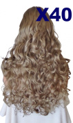 WIG FASHION 60cm Ladies 3/4 Half Fall Wig - Sexy Long Layered Curly Wavy Style - ASH BROWN #18 - Heat Resistant Synthetic - Clip In Hair Piece Women Extension X40