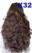 WIG FASHION 60cm Ladies 3/4 Half Fall Wig - Sexy Long Layered Curly Wavy Style - MELTED CHOCOLATE BROWN #10/12 - Heat Resistant Synthetic - Clip In Hair Piece Women Extension X32