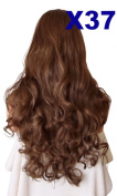 WIG FASHION 60cm Ladies 3/4 Half Fall Wig - Sexy Long Layered Curly Wavy Style - BRONZED BROWN #4/27 - Heat Resistant Synthetic - Clip In Hair Piece Women Extension X37