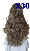 WIG FASHION 60cm Ladies 3/4 Half Fall Wig - Sexy Long Layered Curly Wavy Style - MID BROWN STREAK BEIGE #8/27 - Heat Resistant Synthetic - Clip In Hair Piece Women Extension X30