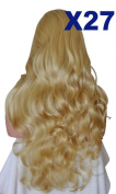 WIG FASHION 60cm Ladies 3/4 Half Fall Wig - Sexy Long Layered Curly Wavy Style - GOLDEN #26 - Heat Resistant Synthetic - Clip In Hair Piece Women Extension X27