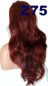 WIG FASHION 60cm Ladies 3/4 Half Fall Wig - Sexy Long Layered Flick Wavy Style - DARK RED - Heat Resistant Synthetic - Clip In Hair Piece Women Extension Z75