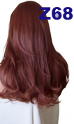 WIG FASHION 60cm Ladies 3/4 Half Fall Wig - Sexy Long Layered Flick Wavy Style - RICH AUBURN - Heat Resistant Synthetic - Clip In Hair Piece Women Extension Z68