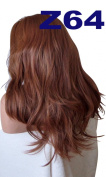 WIG FASHION 60cm Ladies 3/4 Half Fall Wig - Sexy Long Layered Flick Wavy Style - MANGO COPPER - Heat Resistant Synthetic - Clip In Hair Piece Women Extension Z64