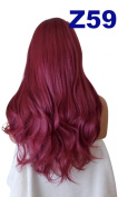 WIG FASHION 60cm Ladies 3/4 Half Fall Wig - Sexy Long Layered Flick Wavy Style - BURGUNDY RED - Heat Resistant Synthetic - Clip In Hair Piece Women Extension Z59