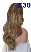 WIG FASHION 60cm Ladies 3/4 Half Fall Wig - Sexy Long Layered Flick Wavy Style - MID BROWN STREAK BEIGE #8/27 - Heat Resistant Synthetic - Clip In Hair Piece Women Extension Z30