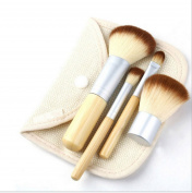 DINGANG Bamboo Makeup Brush Set 4pcs Make Up Brushes with a Cosmetic Bag