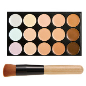 DE'LANCI 15 Colour Cosmetics Cream Complete Coverage Concealers Palette Makeup Kit with Make up Brushes