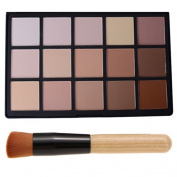 DE'LANCI Professional 15 Colour Multifunctional Concealer Camouflage Highlight & Contour Powder Bronzer Foundation Makeup Palette with Beauty Cosmetic Brushes