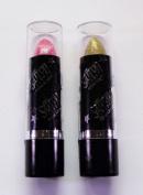 2 Saffron Glitter Lipstick Gold & Pink Sparkle