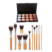 ESYN 15 Colour Concealer Palette Kit With 11pcs Bamboo Brush Face Makeup Contour Cream