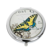 Attractive Round Compact Handbag Purse Mirror Butterfly Design - Yellow