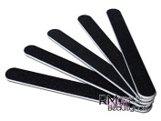 RM Beautynails Nail Files, Straight Grit 100/180, Pack of 5, Black