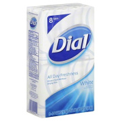 (PACK OF 8 BARS) Dial Classic WHITE Antibacterial Bar Soap. Round the Clock Odour Protection. Leaves Skin Smooth & Radian! Hypo-Allergenic. Great for Hands, Face & Body!