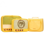 LYCEEM 3 pcs Packing Cubes Toiletry Bag Travel Luggage Organiser Kit fit for 50cm Trolley Case